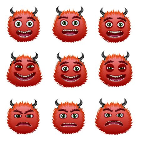 Red devils head, cartoon characters with different emotions set of vector Illustrations