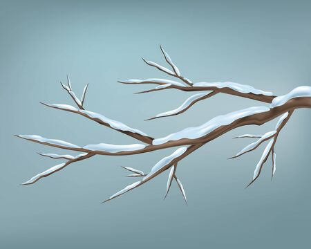 Winter branch of tree and snow seasonal vector image. Vector design, winter landscape greeting card.