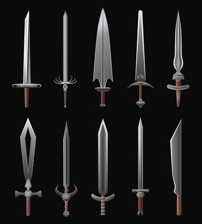 Cartoon Weapon Icons. Vector fantasy illustration set of steel swords and sabers. Иллюстрация