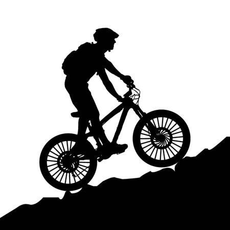 A bicycle riding bike in rocky area. Illustration on mountain bike - silhouette. Vectores