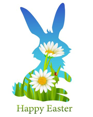Happy Easter Holiday with Easter Rabbit and flowers on white Иллюстрация