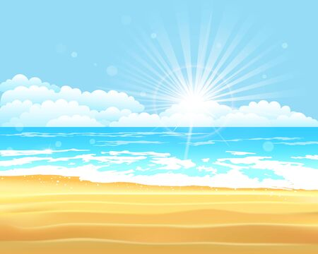 Vector illustration. Blue sea and sky background. Summer holiday tropical beach background Иллюстрация