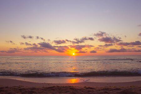 Sea in sunrise nature landscape. Imagens