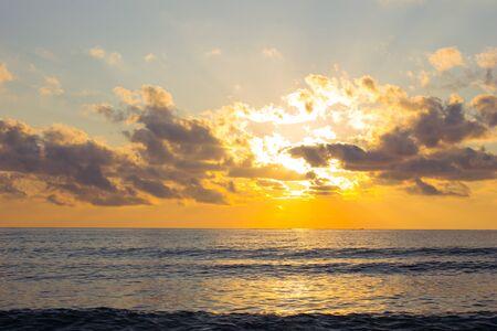 Sea beach sunrise. Sea in sunrise nature landscape.