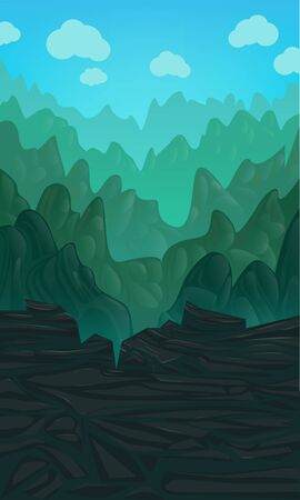 Vector vertical illustration with green hills on a blue cloudy sky. Video Game Digital Artwork. Иллюстрация