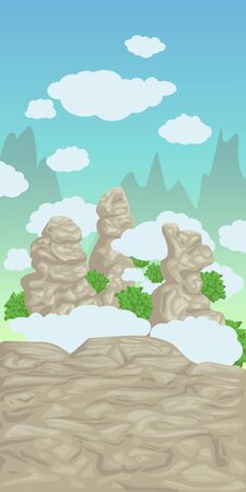 Vector illustration, rocks of mountain with clouds. Mountains landscape on background. Cartoon background for game