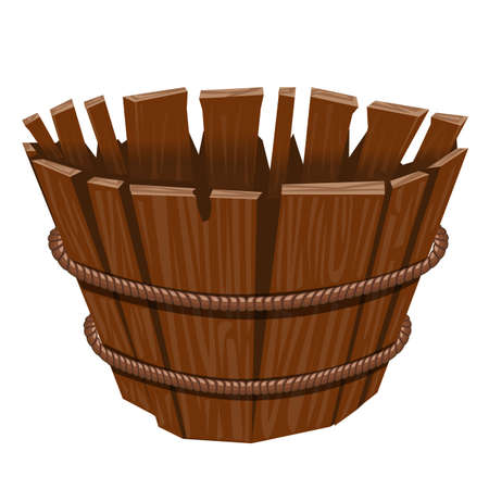 Empty basket  isolated on white background. Vector cartoon illustration of a wood basket. Wooden basket for the game UI.