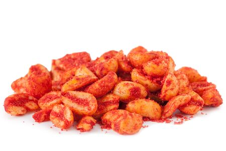 spicey: Spicey Peanuts isolated on white background