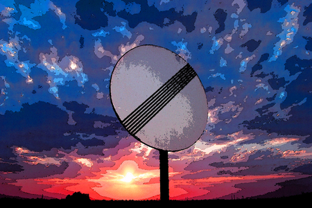 trip hazard sign: Traffic sign over sky and sunset