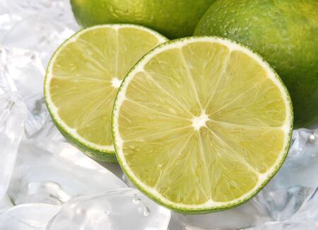 Sliced lime  on ice Stock Photo
