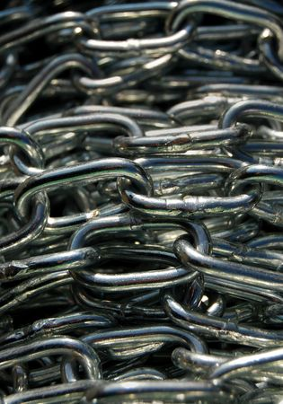 Steel chains in close up Stock Photo