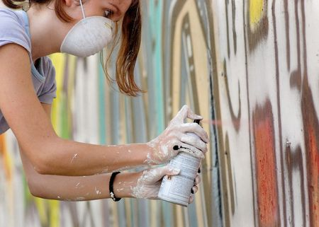 Spray painting on wall Stock Photo - 2307732