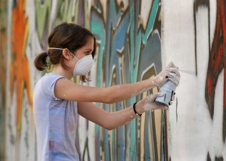 Spray painting on wall Stock Photo - 2307731