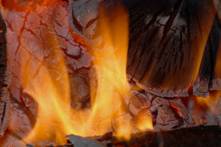 ember: Fire,logs and ember Stock Photo