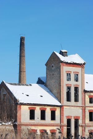 destruct: Old ruined factory in winter