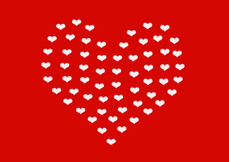 smaller: Heart made of smaller white hearts on red background