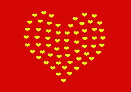 smaller: Heart made of smaller yellow hearts on red background