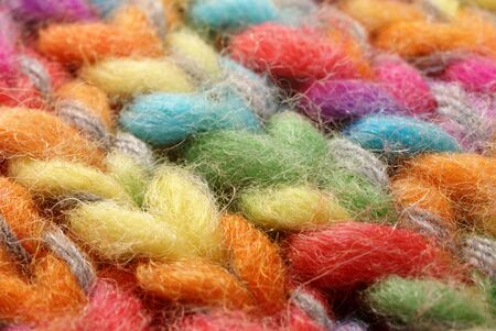 Colored wool in close up photo