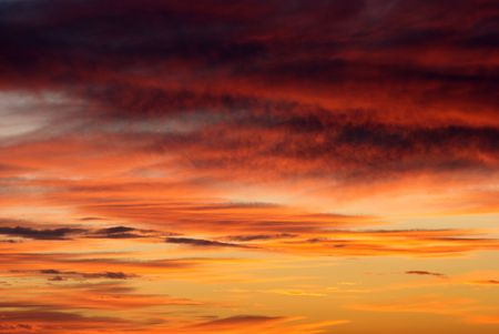 season specific: Season specific colorful sky in early evening  Stock Photo
