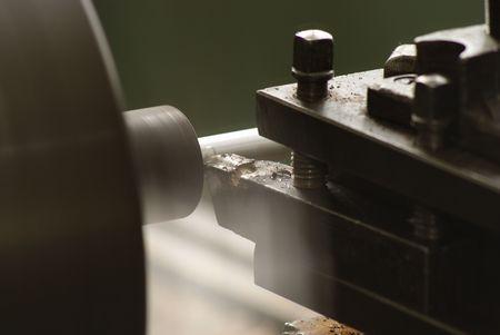 Cutting metal on the lathe Stock Photo - 2900536