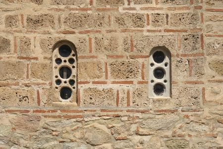 thessalia: Windows in the Holy Monastery of the Transfiguration of , Great Meteora Greece Thessaly Stock Photo