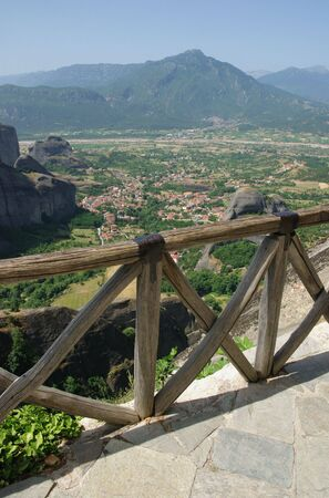 thessalia: View from The Holy Monastery of the Transfiguration of , Great Meteora Greece to Kastraki village  Stock Photo