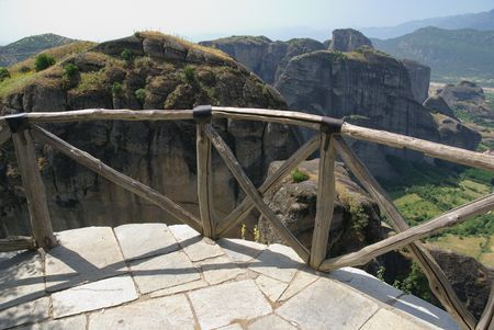 thessaly: View  from the Holy Monastery of the Transfiguration of , Great Meteora Greece Thessaly Stock Photo