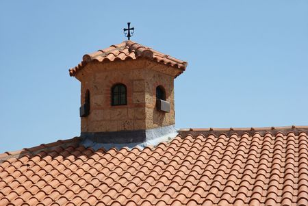thessaly: Roof of the Holy Monastery of the Transfiguration of , Great Meteora Greece Thessaly
