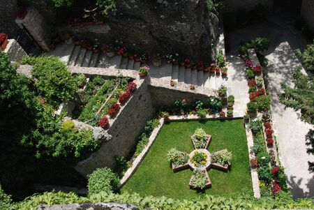 thessaly: Garden in Holy Monastery Roussano, Meteora, Greece Thessaly
