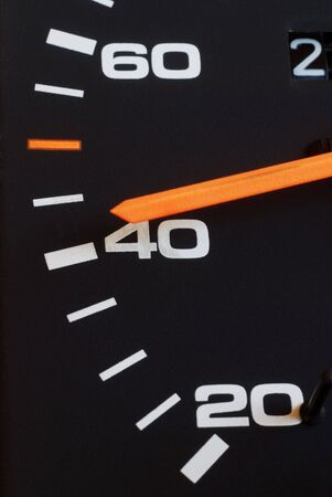 Close up of car speed meter photo