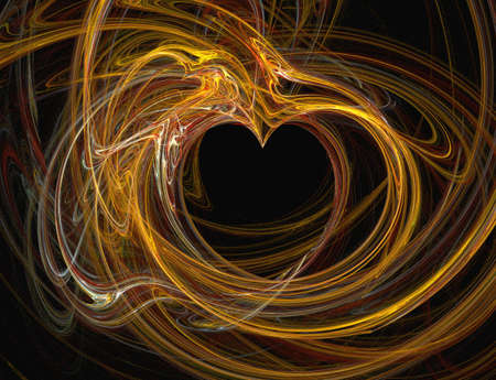 Abstract designed dark heart with colorful flames  generated photo