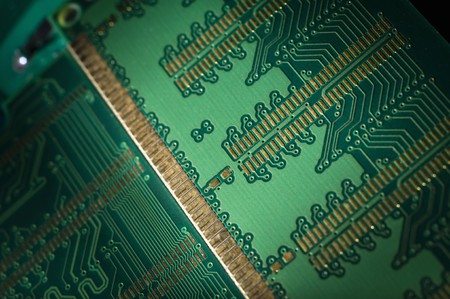 Close up of back side of computer ddr memory Stock Photo