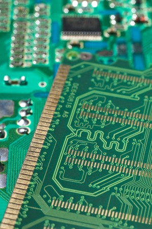 thermistor: Close up of back side of computer ddr memory