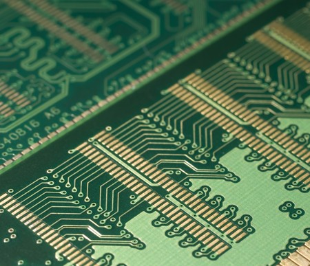 thermistor: Close up of back side of computer ddr memory Stock Photo