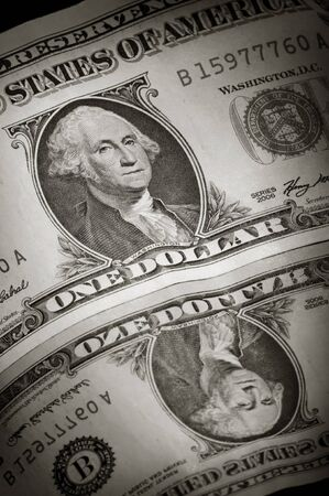 Dollar banknote in close up with reflection photo