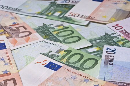 Heap of euro banknote in close up photo
