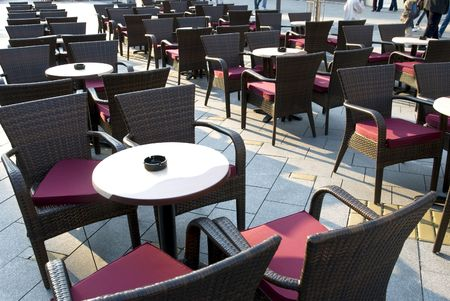 elbowchair: Chairs and coffee tables  at cafe outside