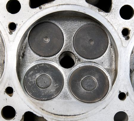 cam gear: Part of car engine, four valve in head for each cylinder, after repairing