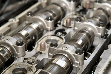 camshaft: Close up of parts in engine head two camshaft system