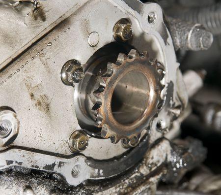 camshaft: Close up of car engine camshaft gear