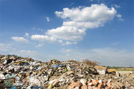 Different waste  over blue sky and clouds Stock Photo - 5193359