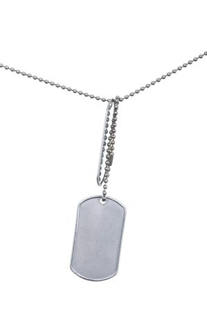 Close up photo of dog tag isolated on white background Stock Photo