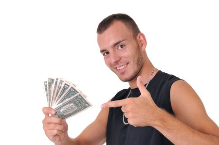 Young smiling Caucasian man with dollar banknotes isolated on white photo