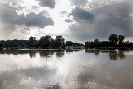 Sunset with dark clouds over river Tisa, Vojvodina Serbia