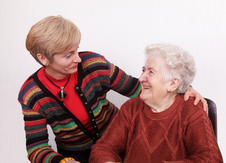 Senior and mature womans speaking  and laughing Stock Photo - 8719577