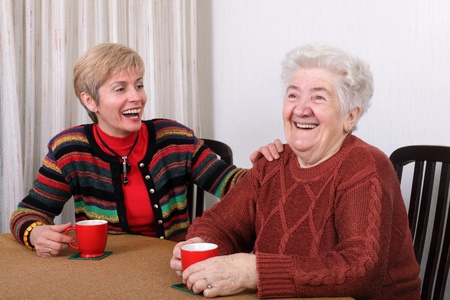 caffee: Senior and mature womans drinking caffee and laughing