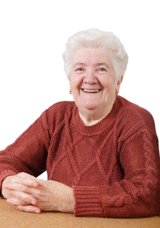Portrait of  smiling senior woman isolated on white