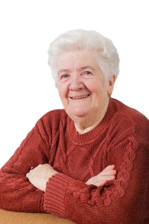 one senior adult woman: Retrato de mujer alta sonriente con fondo blanco