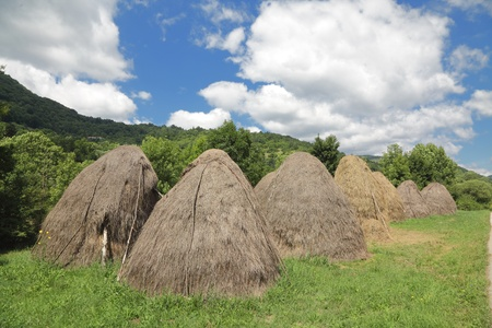 bulgaria: Heap of straw after harvesting  at Balkan Mountain (Stara Planina) National Park in Serbia Europe