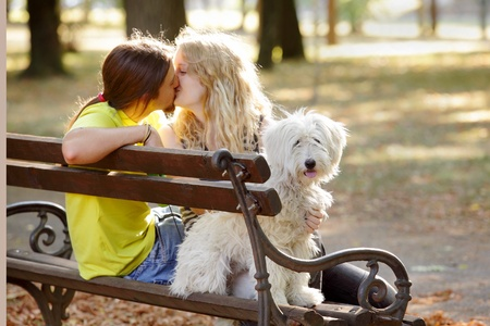 russian girls: Young couple with white dog at bench